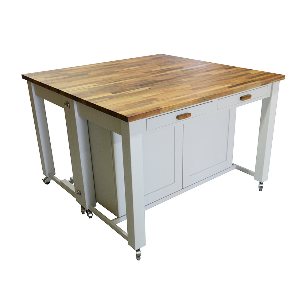 Details about Two-piece Solid Wood Kitchen Island Breakfast Bar (Barbecue  Table, BBQ Trolley)